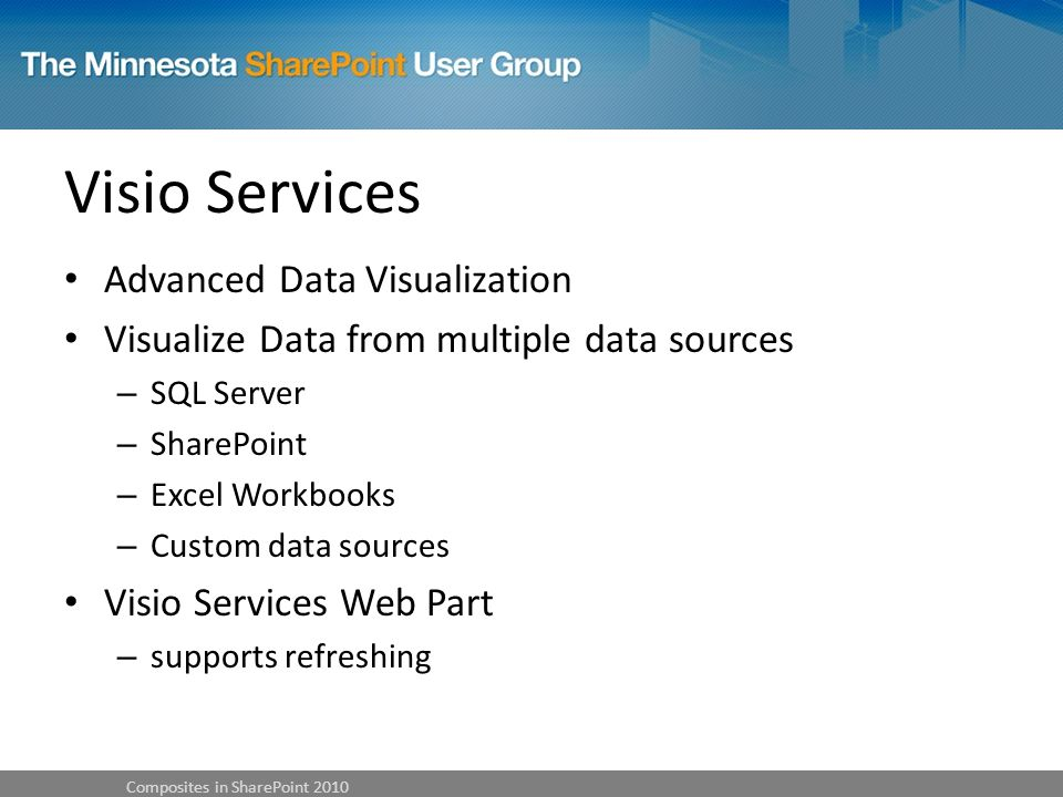 Visio Services Advanced Data Visualization Visualize Data from multiple data sources – SQL Server – SharePoint – Excel Workbooks – Custom data sources Visio Services Web Part – supports refreshing Composites in SharePoint 2010