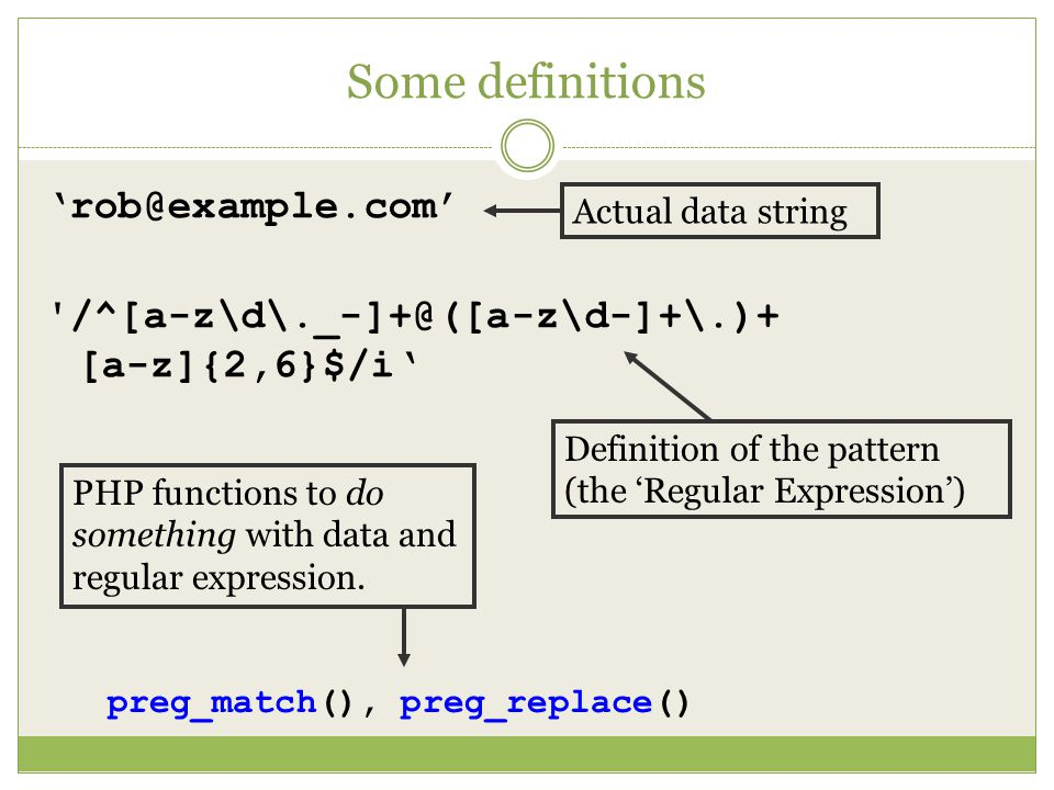 Some definitions  [a-z]{2,6}$/i' Actual data string Definition of the pattern (the 'Regular Expression') PHP functions to do something with data and regular expression.
