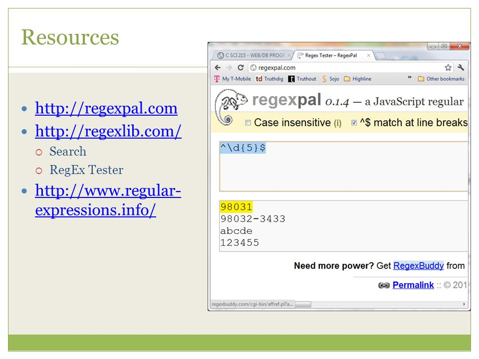 Resources      Search  RegEx Tester   expressions.info/   expressions.info/