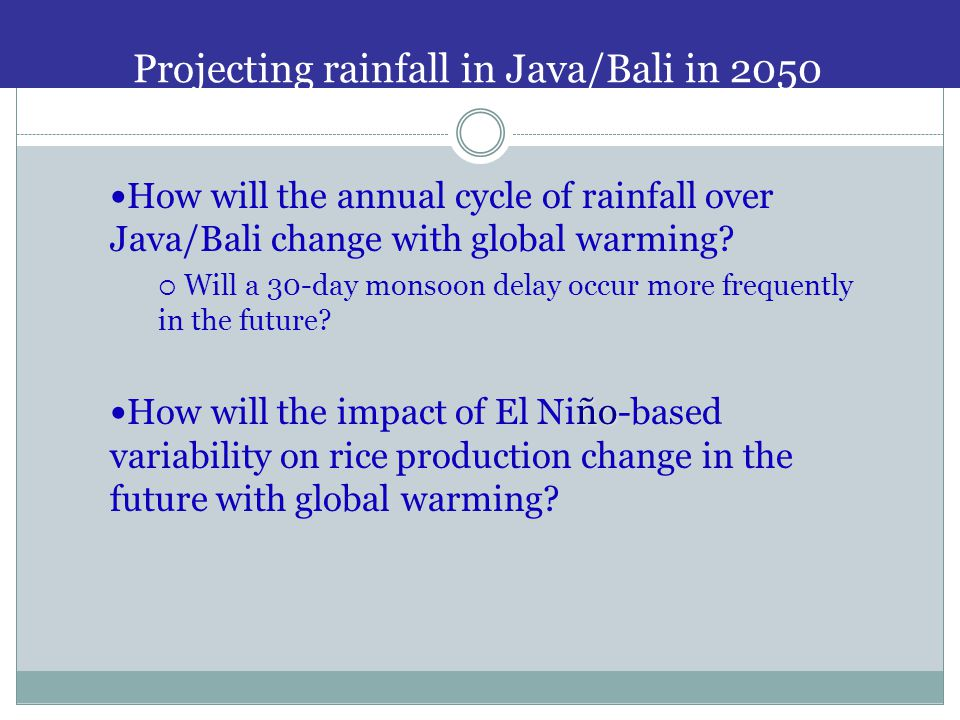 Projecting rainfall in Java/Bali in 2050 How will the annual cycle of rainfall over Java/Bali change with global warming.