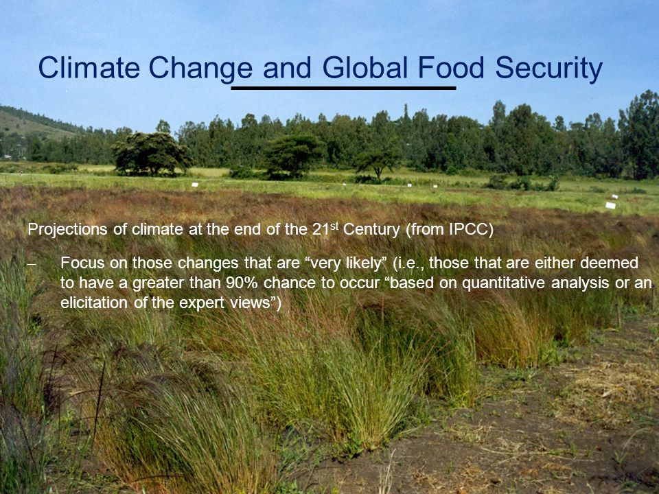 Projections of climate at the end of the 21 st Century (from IPCC) – Focus on those changes that are very likely (i.e., those that are either deemed to have a greater than 90% chance to occur based on quantitative analysis or an elicitation of the expert views ) Climate Change and Global Food Security
