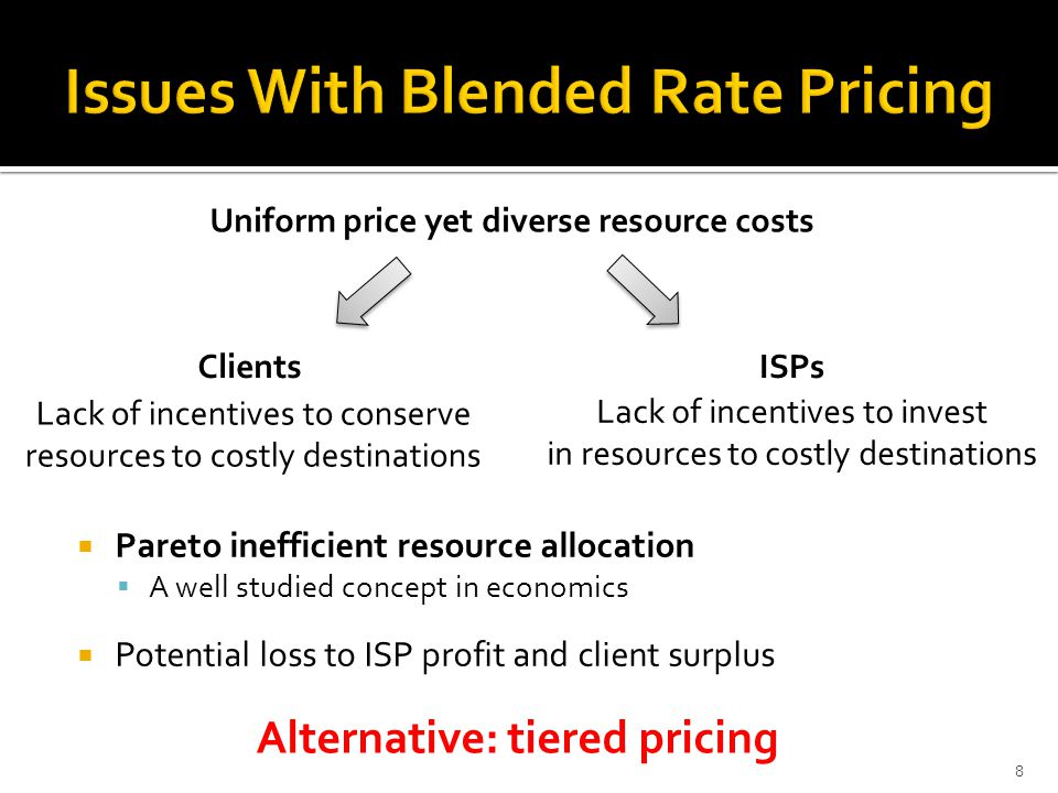 8 Uniform price yet diverse resource costs Lack of incentives to conserve resources to costly destinations Lack of incentives to invest in resources to costly destinations  Pareto inefficient resource allocation  A well studied concept in economics  Potential loss to ISP profit and client surplus Clients ISPs Alternative: tiered pricing
