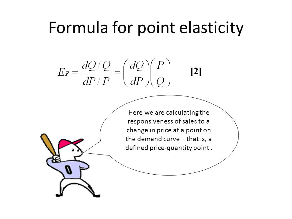 Formula for point elasticity [2] Here we are calculating the responsiveness of sales to a change in price at a point on the demand curve—that is, a defined price-quantity point.