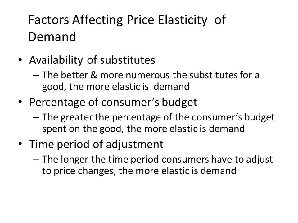 Factors Affecting Price Elasticity of Demand Availability of substitutes – The better & more numerous the substitutes for a good, the more elastic is demand Percentage of consumer's budget – The greater the percentage of the consumer's budget spent on the good, the more elastic is demand Time period of adjustment – The longer the time period consumers have to adjust to price changes, the more elastic is demand