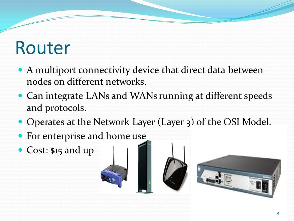 Router A multiport connectivity device that direct data between nodes on different networks.
