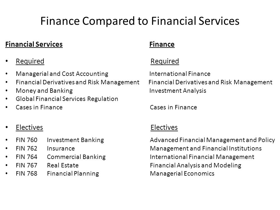 Finance Compared to Financial Services Financial Services Finance Required Required Managerial and Cost Accounting International Finance Financial Derivatives and Risk Management Financial Derivatives and Risk Management Money and Banking Investment Analysis Global Financial Services Regulation Cases in Finance Cases in Finance Electives Electives FIN 760 Investment Banking Advanced Financial Management and Policy FIN 762 Insurance Management and Financial Institutions FIN 764 Commercial Banking International Financial Management FIN 767 Real Estate Financial Analysis and Modeling FIN 768 Financial Planning Managerial Economics