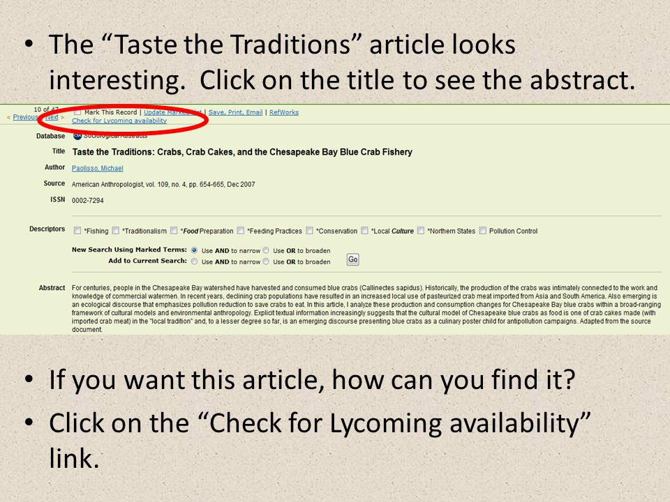The Taste the Traditions article looks interesting.