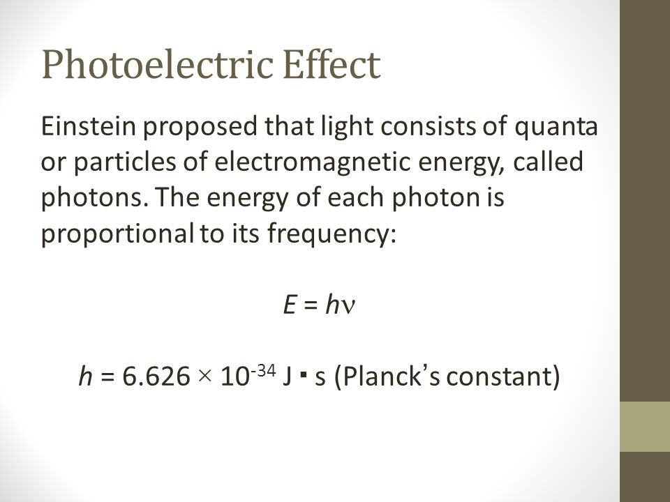 Photoelectric Effect Einstein proposed that light consists of quanta or particles of electromagnetic energy, called photons.