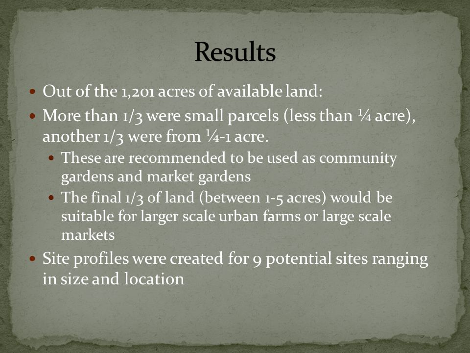 Out of the 1,201 acres of available land: More than 1/3 were small parcels (less than ¼ acre), another 1/3 were from ¼-1 acre.