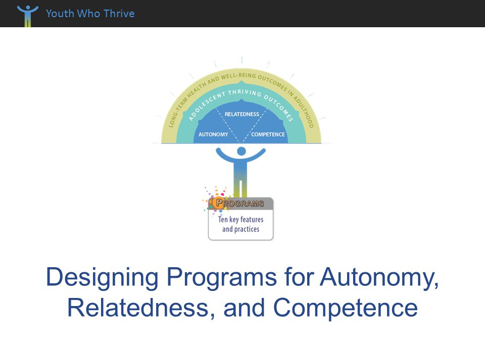 Youth Who Thrive Designing Programs for Autonomy, Relatedness, and Competence
