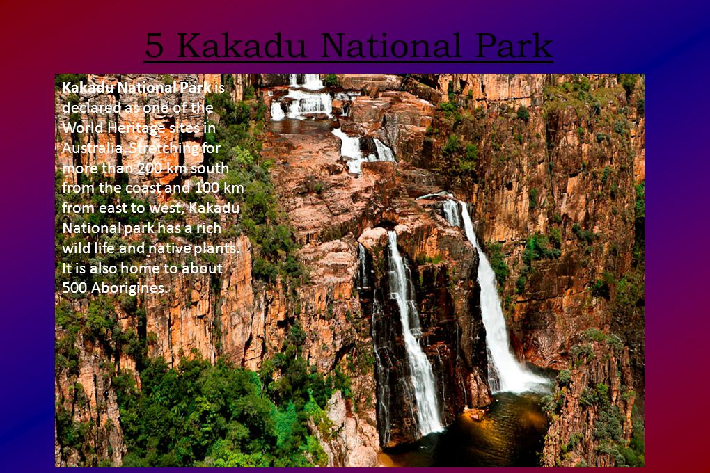 5 Kakadu National Park Kakadu National Park is declared as one of the World Heritage sites in Australia.