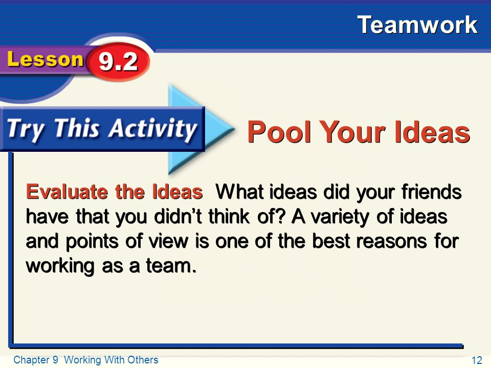 12 Chapter 9 Working With Others Teamwork Try This Activity Evaluate the Ideas What ideas did your friends have that you didn't think of? A variety of