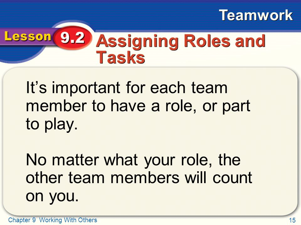 15 Chapter 9 Working With Others Teamwork Assigning Roles and Tasks It's important for each team member to have a role, or part to play. No matter wha