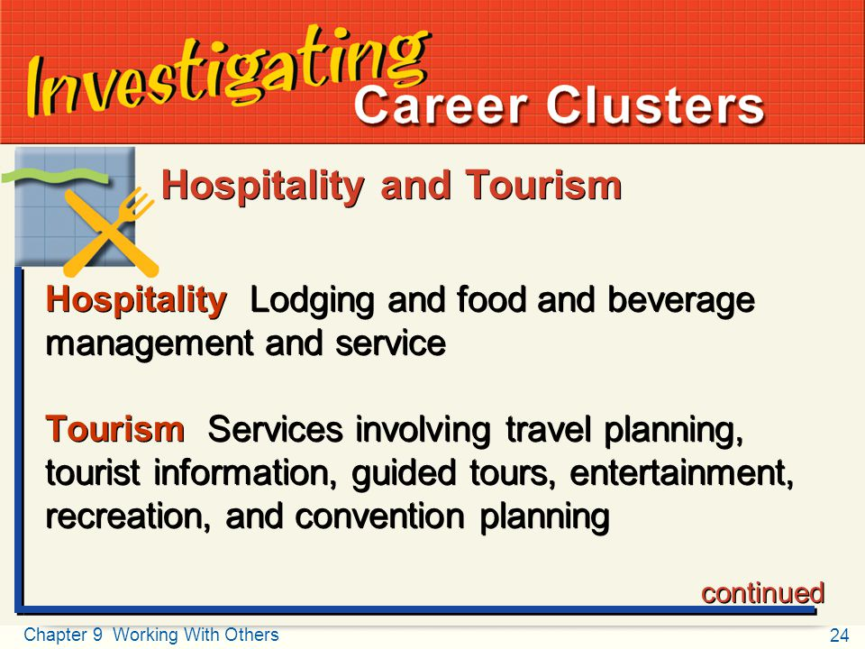 24 Chapter 9 Working With Others Teamwork Investigating Career Clusters Hospitality Lodging and food and beverage management and service Tourism Servi