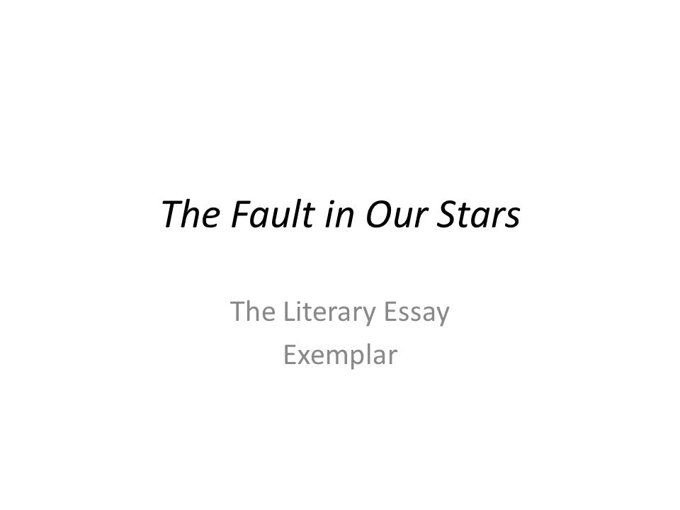 The fault in our stars essay help