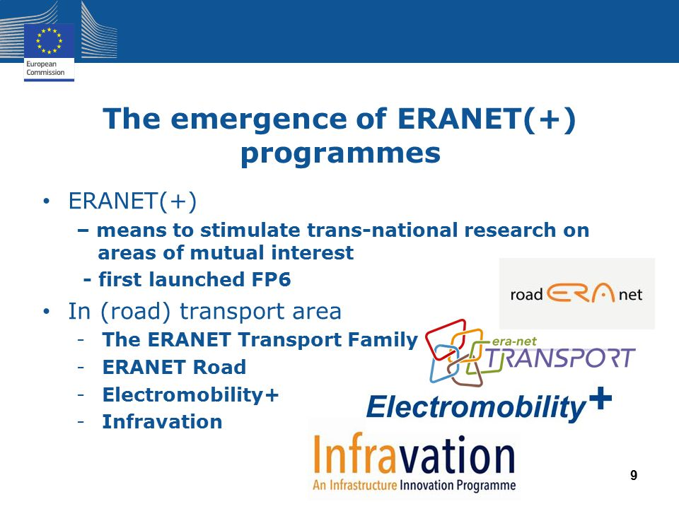 The emergence of ERANET(+) programmes ERANET(+) – means to stimulate trans-national research on areas of mutual interest - first launched FP6 In (road) transport area -The ERANET Transport Family -ERANET Road -Electromobility+ -Infravation 9