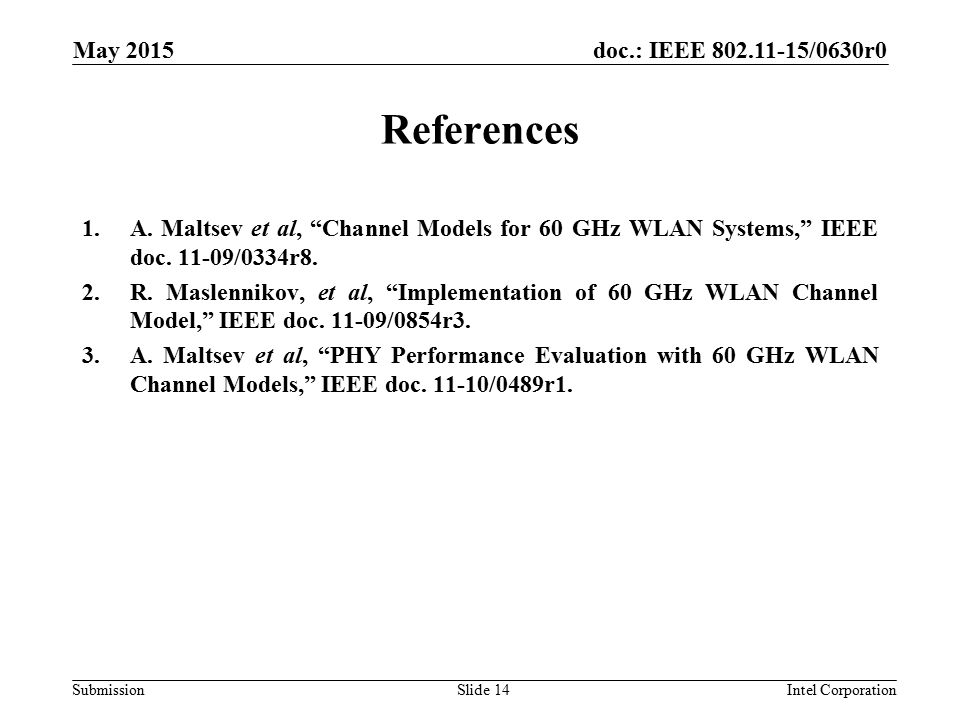 doc.: IEEE /0630r0 Submission May 2015 Intel CorporationSlide 14 References 1.A.