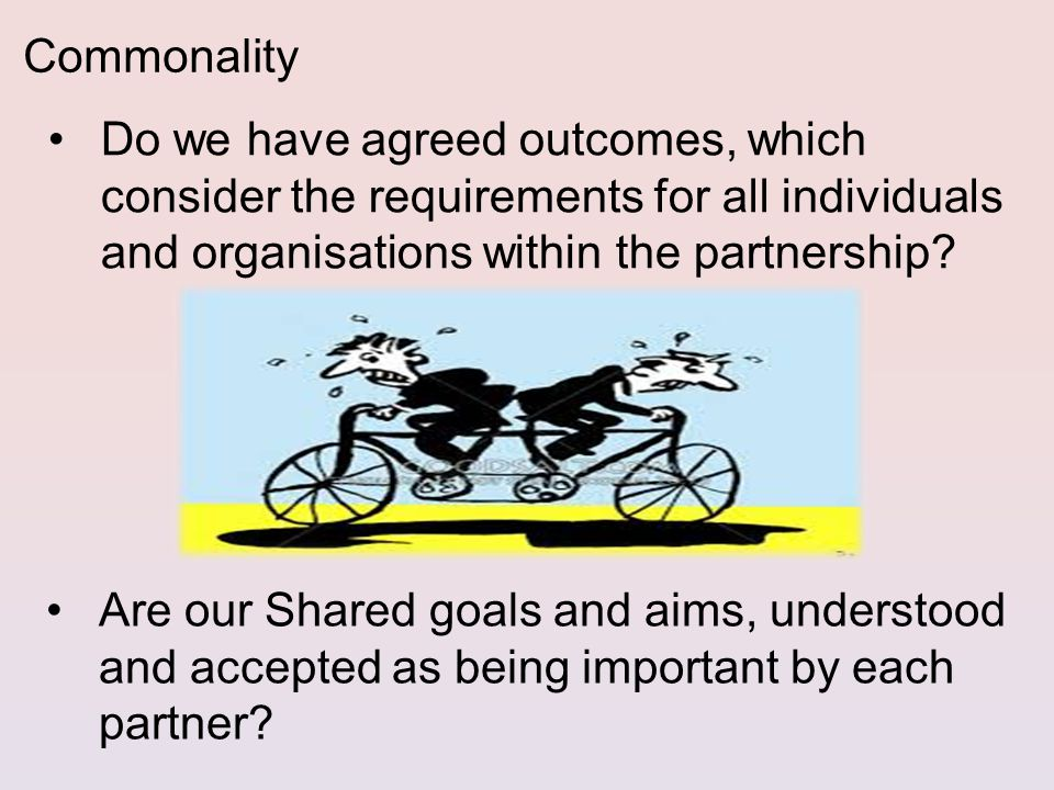 Do we have agreed outcomes, which consider the requirements for all individuals and organisations within the partnership.