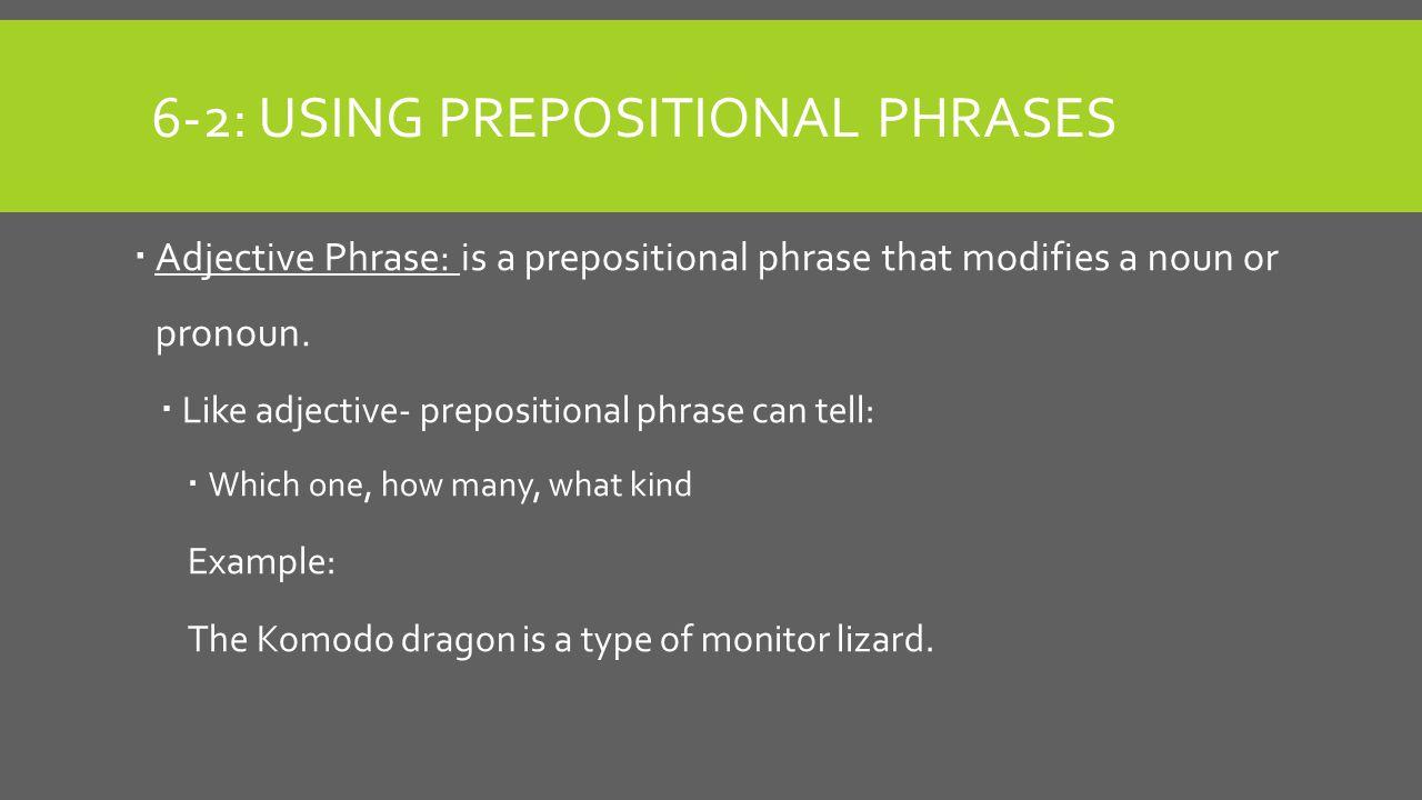 6-2: USING PREPOSITIONAL PHRASES  Adjective Phrase: is a prepositional phrase that modifies a noun or pronoun.