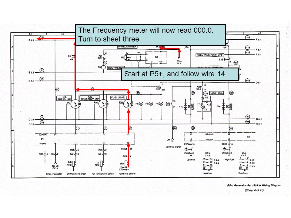 Start at P5+, and follow wire 14. The Frequency meter will now read Turn to sheet three.