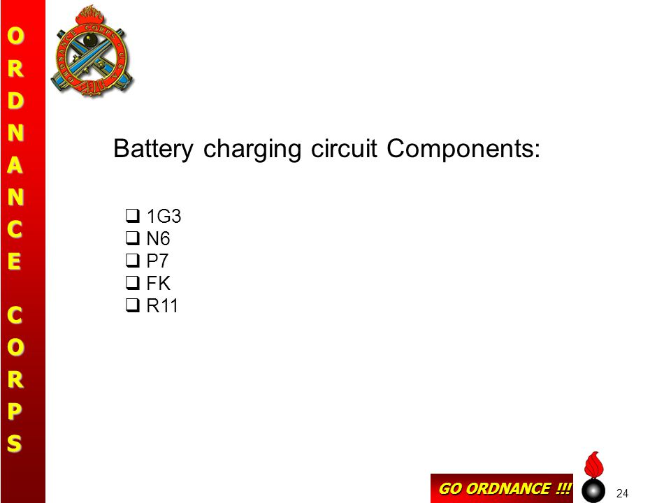 GO ORDNANCE !!! ORDNANCECORPS 24 Battery charging circuit Components:  1G3  N6  P7  FK  R11