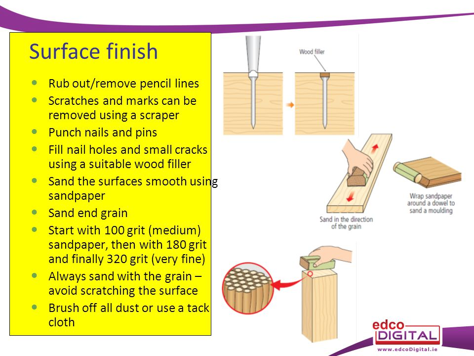 Rub out/remove pencil lines Scratches and marks can be removed using a scraper Punch nails and pins Fill nail holes and small cracks using a suitable wood filler Sand the surfaces smooth using sandpaper Sand end grain Start with 100 grit (medium) sandpaper, then with 180 grit and finally 320 grit (very fine) Always sand with the grain – avoid scratching the surface Brush off all dust or use a tack cloth Surface finish