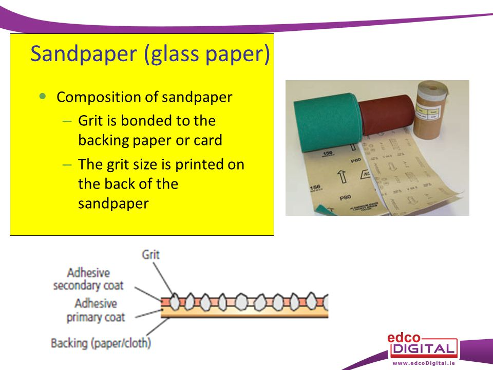 Sandpaper (glass paper) Composition of sandpaper – Grit is bonded to the backing paper or card – The grit size is printed on the back of the sandpaper