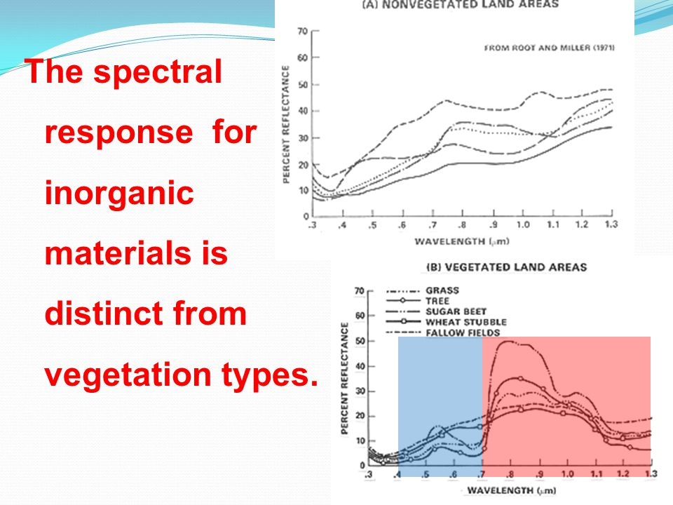 The spectral response for inorganic materials is distinct from vegetation types.