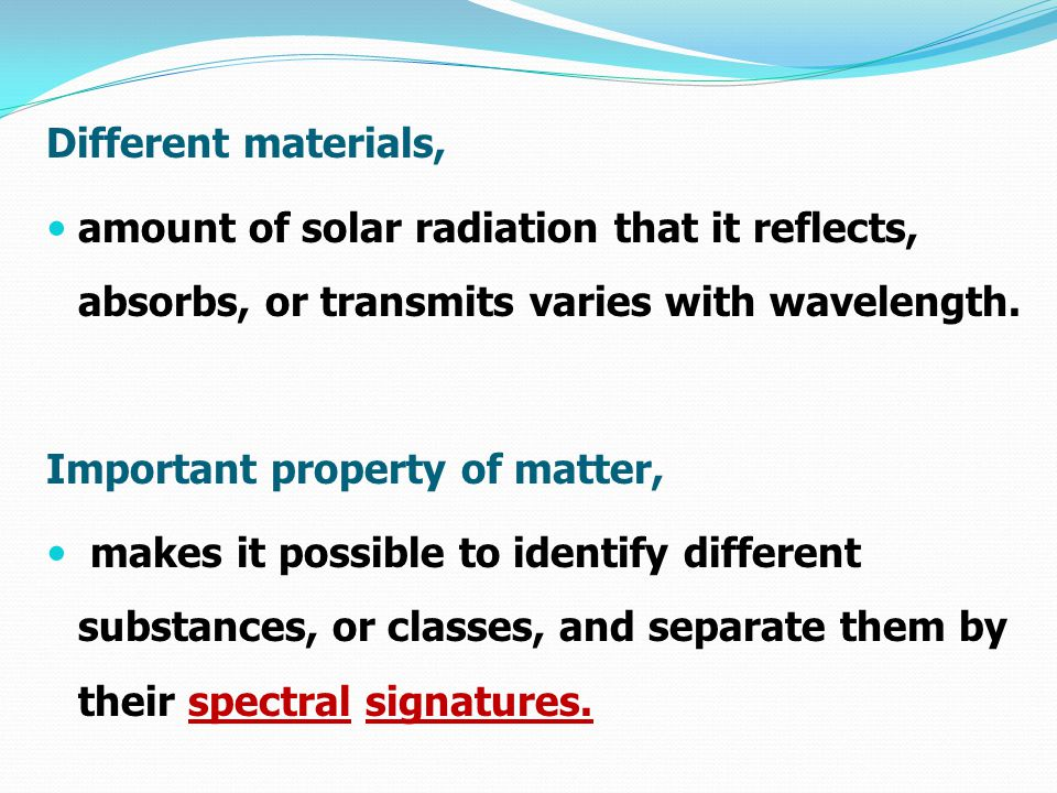Different materials, amount of solar radiation that it reflects, absorbs, or transmits varies with wavelength.