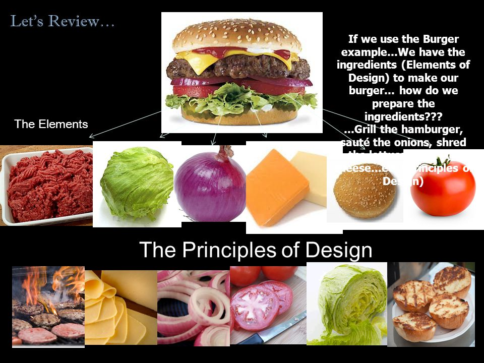 Let's Review… The Elements The Principles of Design If we use the Burger example…We have the ingredients (Elements of Design) to make our burger… how do we prepare the ingredients .