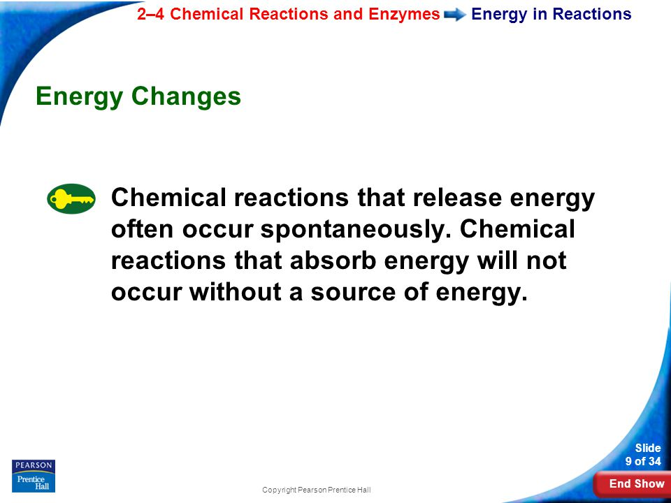 End Show 2–4 Chemical Reactions and Enzymes Slide 9 of 34 Copyright Pearson Prentice Hall Energy in Reactions Energy Changes Chemical reactions that release energy often occur spontaneously.