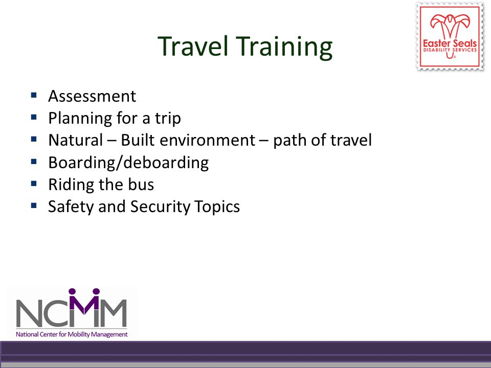 Travel Training  Assessment  Planning for a trip  Natural – Built environment – path of travel  Boarding/deboarding  Riding the bus  Safety and Security Topics