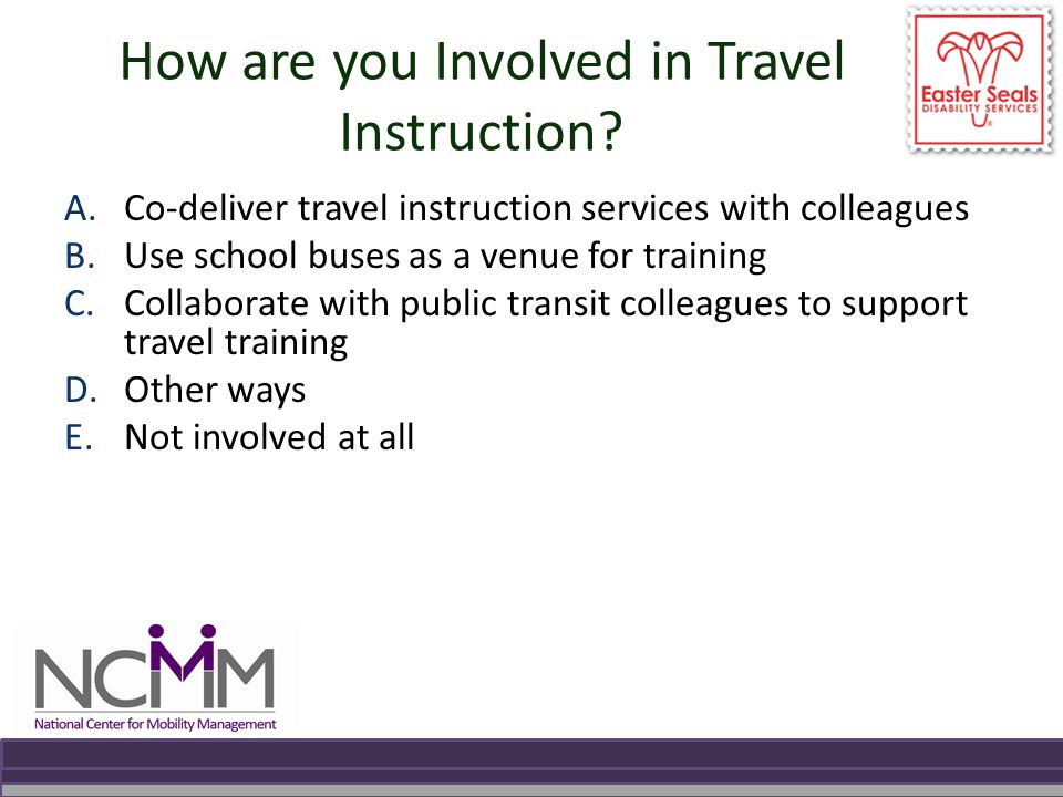How are you Involved in Travel Instruction.