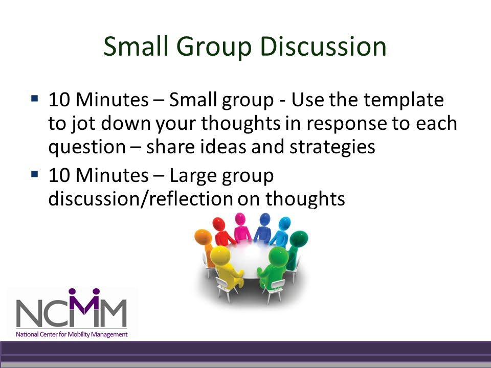 Small Group Discussion  10 Minutes – Small group - Use the template to jot down your thoughts in response to each question – share ideas and strategies  10 Minutes – Large group discussion/reflection on thoughts