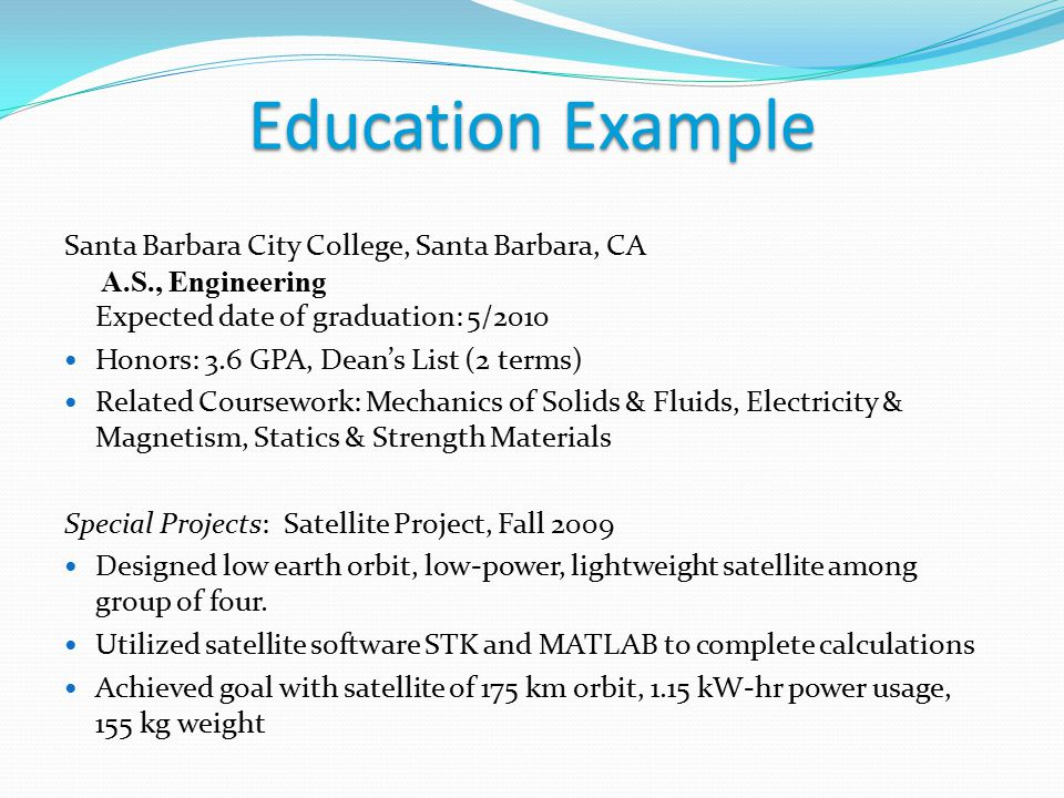 related coursework section resume About the objective, relevant coursework and interests sections on the resume.