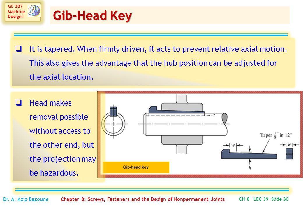 ME 307 Machine Design I ME 307 Machine Design I CH-8 LEC 39 Slide 30 Dr.