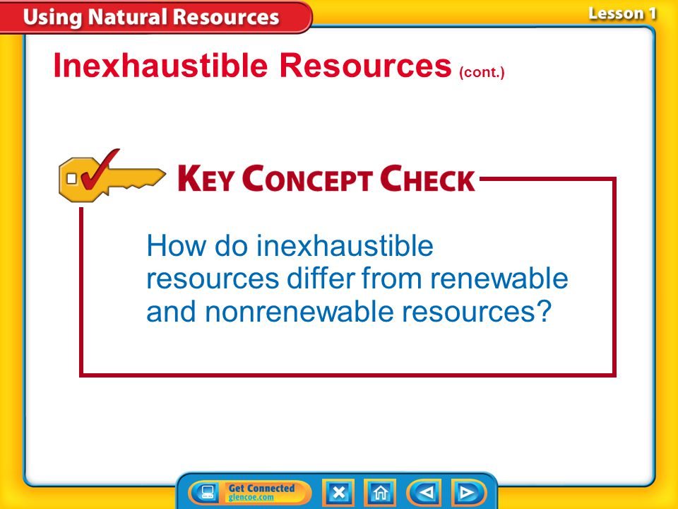 Lesson 1-4 An inexhaustible resource is a natural resource that will not run out, no matter how much of it people use.inexhaustible resource Solar energy, wind, and thermal energy from within the Earth are all examples of inexhaustible resources.