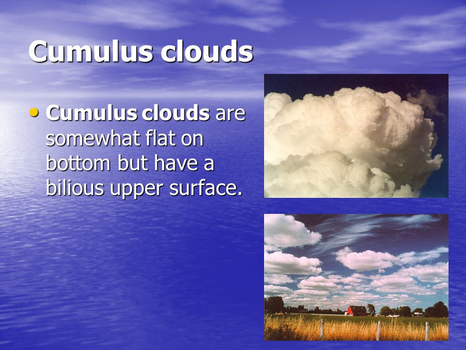 Cumulus clouds Cumulus clouds are somewhat flat on bottom but have a bilious upper surface.