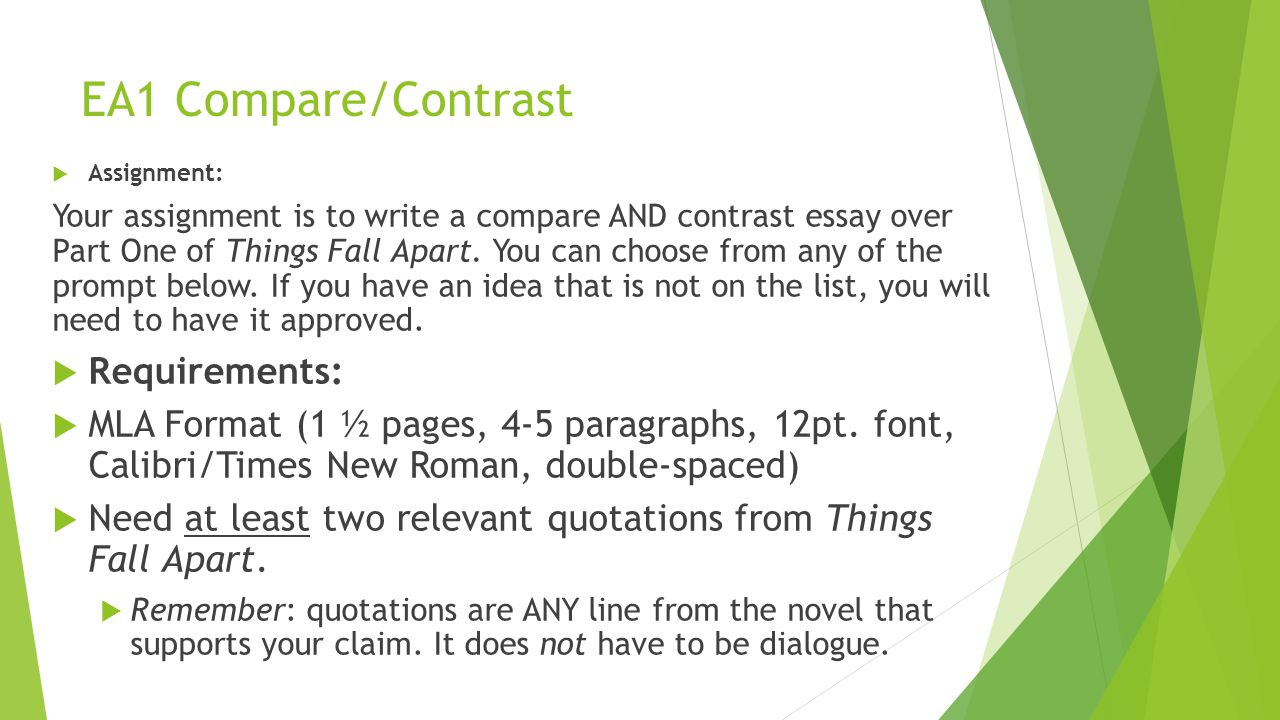 how to write a compare contrast paper