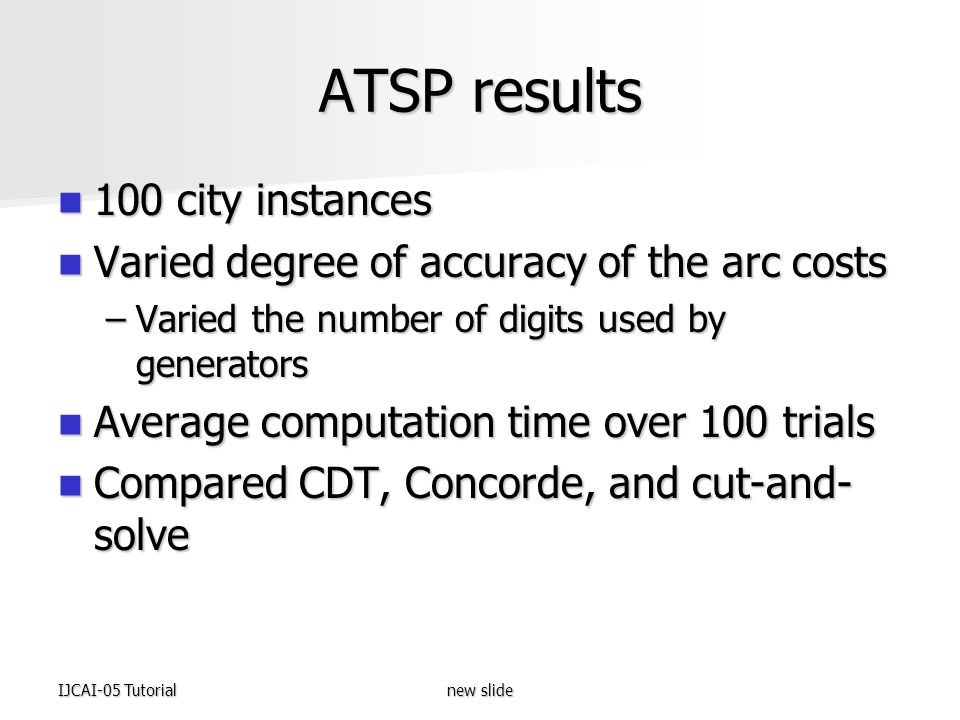 IJCAI-05 Tutorialnew slide ATSP results 100 city instances 100 city instances Varied degree of accuracy of the arc costs Varied degree of accuracy of the arc costs –Varied the number of digits used by generators Average computation time over 100 trials Average computation time over 100 trials Compared CDT, Concorde, and cut-and- solve Compared CDT, Concorde, and cut-and- solve