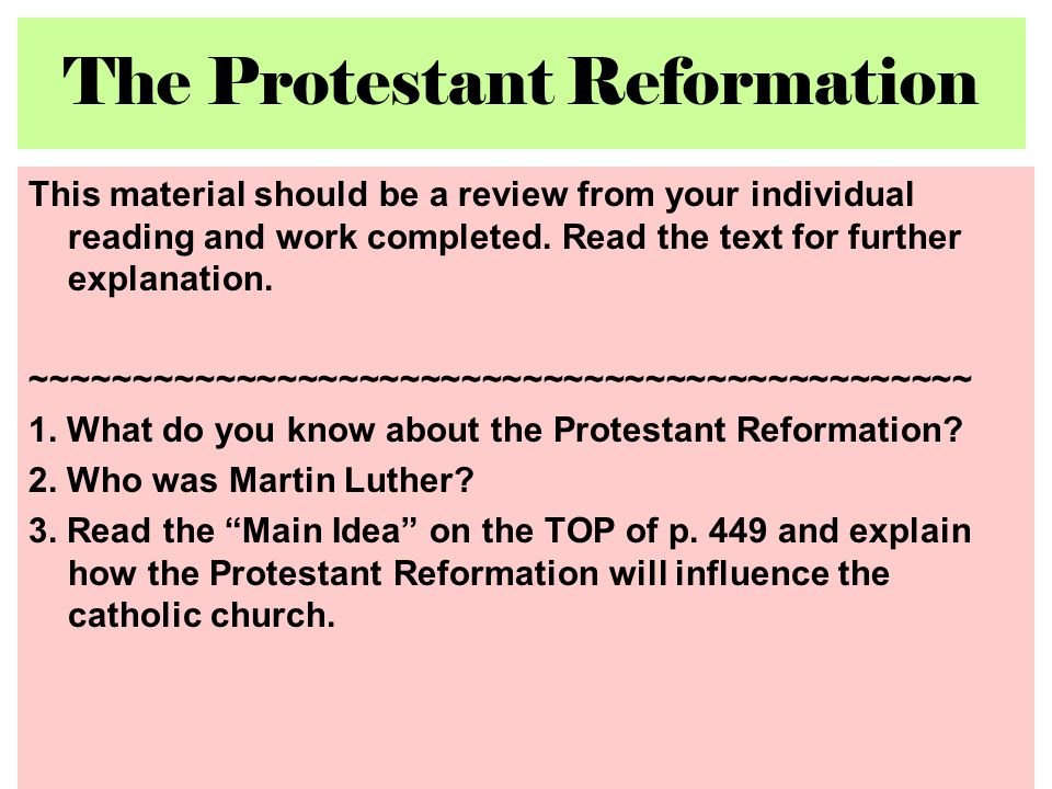 how did the protestant reformation and subsequent scientific revolution come to be Introduction the scientific revolution b that is to come—union with god  this protestant reformation or revolution.