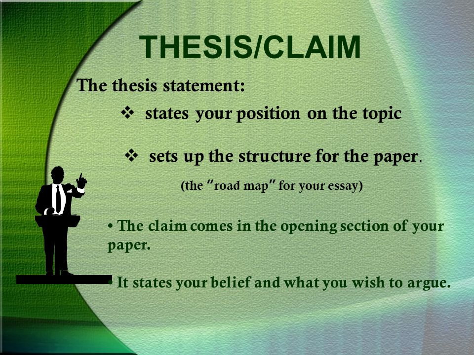 THESIS/CLAIM The thesis statement:  states your position on the topic  sets up the structure for the paper.