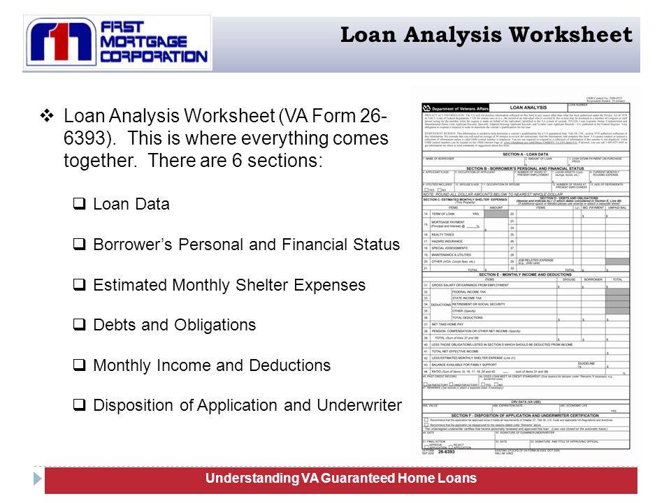 Worksheet Irrrl Worksheet va guaranteed home loans training serve the mortgage lending needs understanding loan analysis worksheet form 26