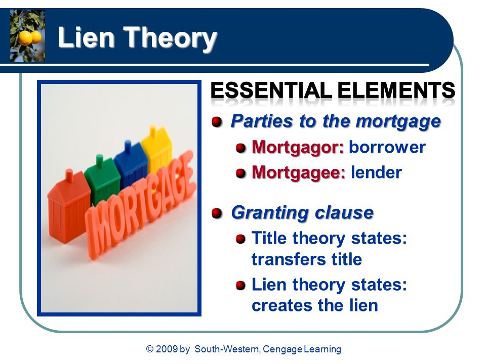 © 2009 by South-Western, Cengage Learning Lien Theory Parties to the mortgage Mortgagor: Mortgagor: borrower Mortgagee: Mortgagee: lender Granting clause Title theory states: transfers title Lien theory states: creates the lien
