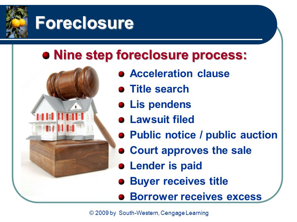 © 2009 by South-Western, Cengage Learning Foreclosure Acceleration clause Title search Lis pendens Lawsuit filed Public notice / public auction Court approves the sale Lender is paid Buyer receives title Borrower receives excess Nine step foreclosure process: