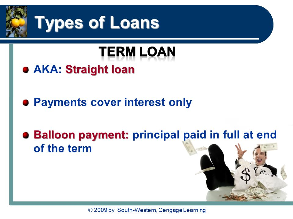 © 2009 by South-Western, Cengage Learning Types of Loans Straight loan AKA: Straight loan Payments cover interest only Balloon payment: Balloon payment: principal paid in full at end of the term
