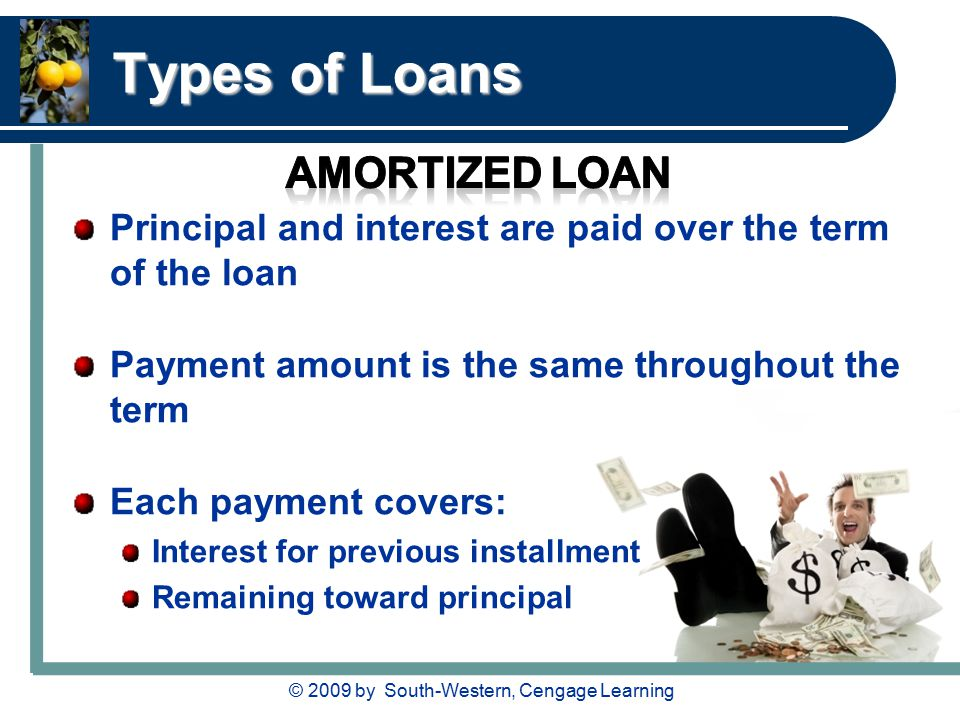 © 2009 by South-Western, Cengage Learning Types of Loans Principal and interest are paid over the term of the loan Payment amount is the same throughout the term Each payment covers: Interest for previous installment Remaining toward principal