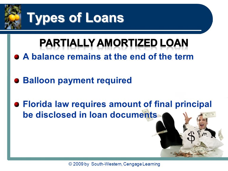 © 2009 by South-Western, Cengage Learning Types of Loans A balance remains at the end of the term Balloon payment required Florida law requires amount of final principal be disclosed in loan documents