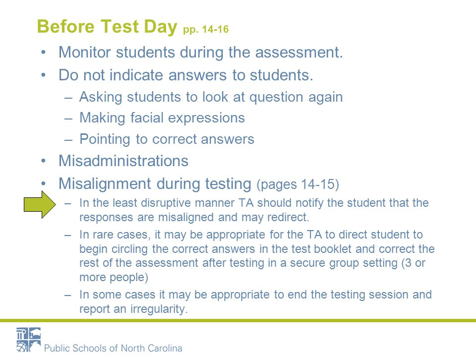 Before Test Day pp Monitor students during the assessment.