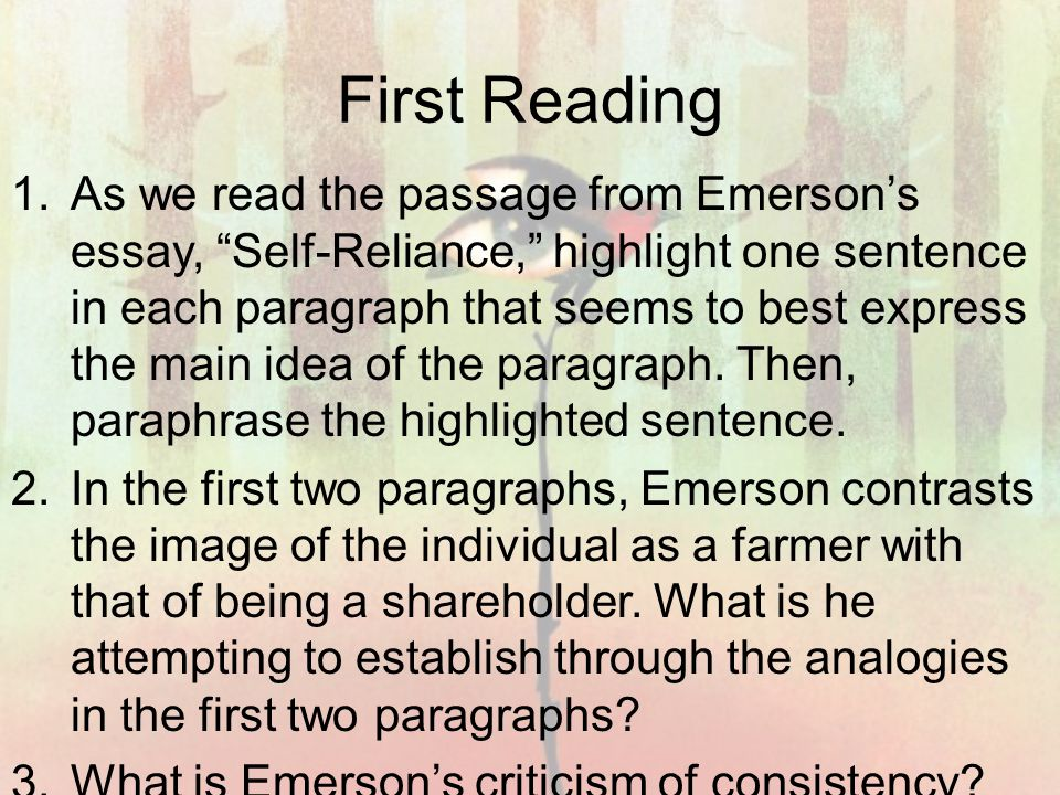 Emerson Self Reliance Essay Pdf